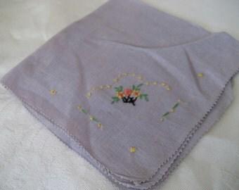 VINTAGE Purple Embroidered Flower Handkerchief