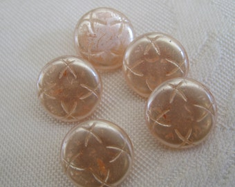 Set of 5 VINTAGE Frosted Pink Glass BUTTONS