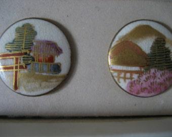 VINTAGE Set of 6 Japan Satsuma Six Stations Ceramic BUTTONS