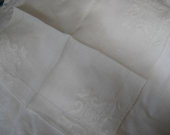 VINTAGE White Cut Work Applique Embroidered Handkerchief