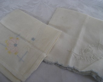 2 Small VINTAGE Scrap Embroidered Handkerchiefs