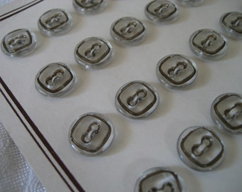 Set of 6 VINTAGE Small Square Clear Glass BUTTONS