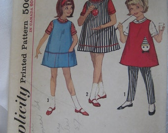 VINTAGE 5046 Simplicity Girls Shift Jumper Dress & Blouse and Pants Sewing Pattern