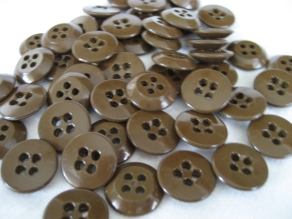 Set Lot of 50 VINTAGE Brown Plastic Military Shirt BUTTONS