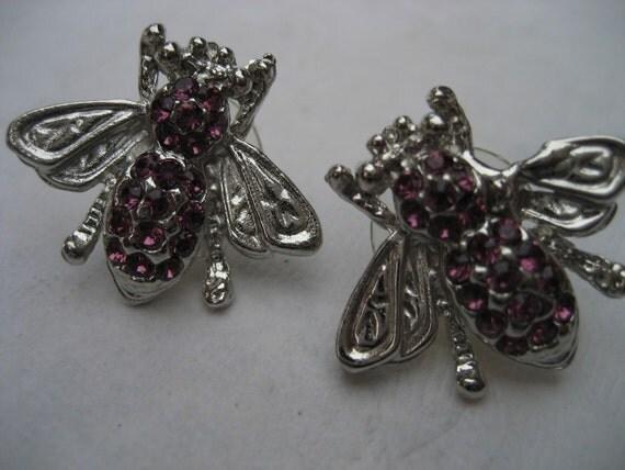 Purple Rhinestone Bumble Bee Costume Jewelry Earrings