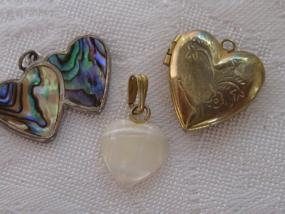 VINTAGE Lot of COSTUME JEWELRY Heart Locket and Pendant Charms