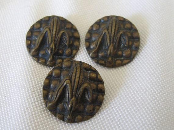 Set of 3 ANTIQUE Raised Corn Cob  Buttons
