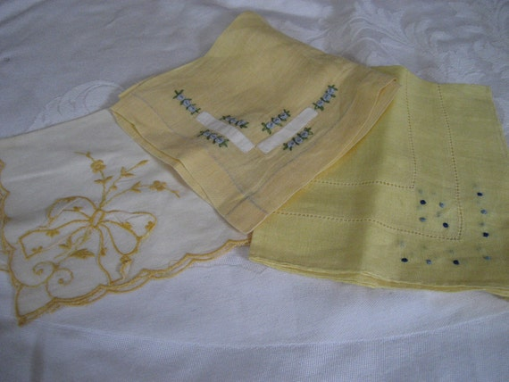 Lot of 3 VINTAGE Embroidered Cotton Yellow Handkerchiefs