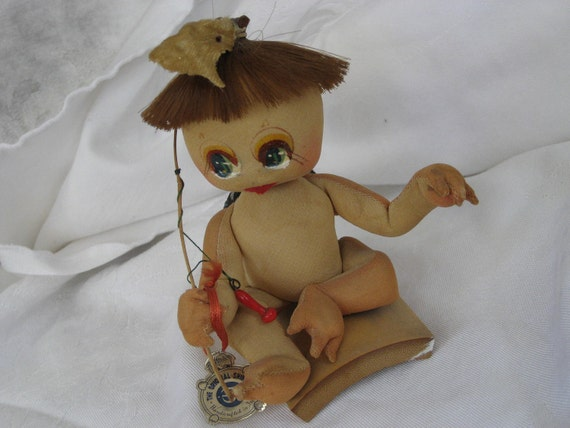 VINTAGE Fisherman Cloth Sculptured Japanese Kappa Water Spirit Doll Figure