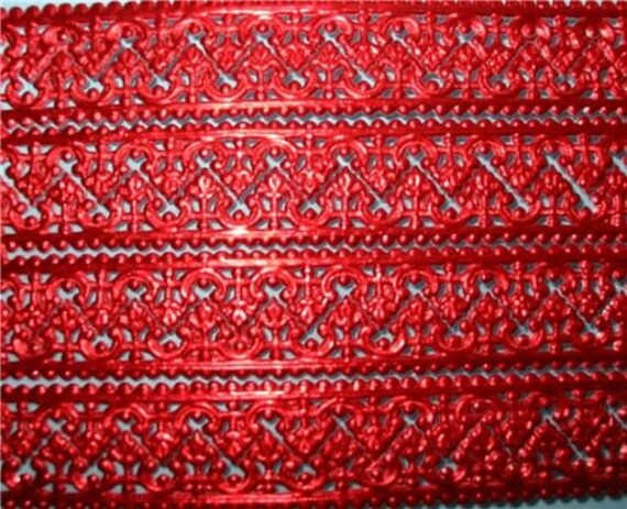 German Dresden Paper Red Lace Baroque Border 14 ft