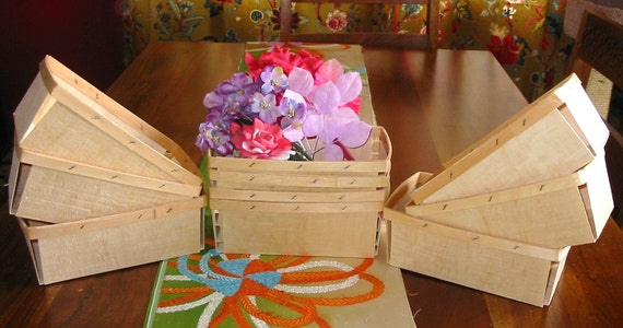 10 New Wood Berry Baskets Two Quart Size Crafts Packaging
