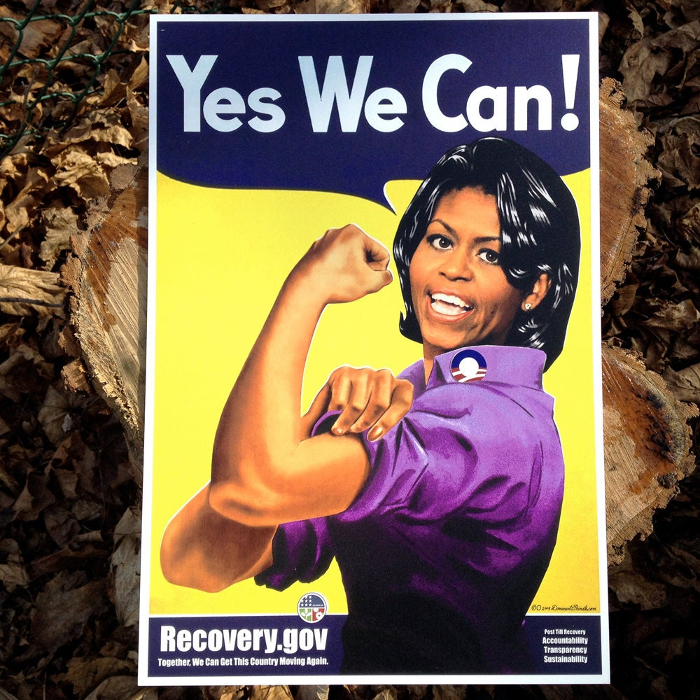 Michell Obama 1st Lady Yes We Can Print On Metal By Artist O