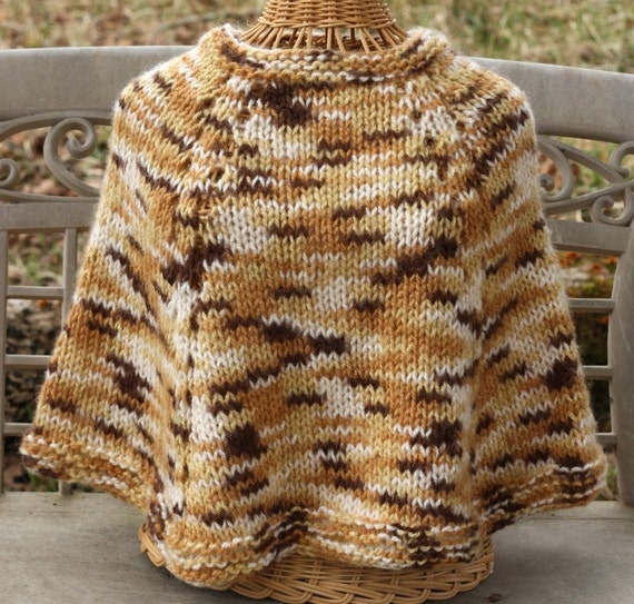 GIRL'S PONCHO - Knitted - Bulky Yarn - Variegated - Dark Brown/Tan/Cream