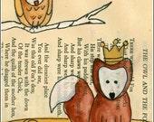 Owl and Fox  5 x 7  PRINT
