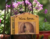Hand Painted Tuscan Home Decor Office or Kitchen Caddy for the Red Wine Lover