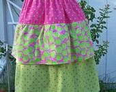 Retro Polka Dot Pink and Lime Green Ruffle Apron