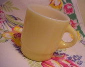 FIRE KING Butter-Yellow Stacking Mug - C-Style Handle - Anchor Hocking - Brighten up YOUR Morning - (EPSteam Vintage)