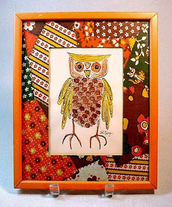 Signed OWL Drawing - Hand-Colored Pen & Ink Print Dated 1972 - Crazy Quilt-Like Fabric Mat - Orange-Painted Wood Frame - (EPSteam Vintage)