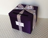 Wedding Card Box Purple/ Silver Money Holder Custom Made ANY Color and Combination