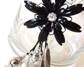 MEGA SALE 'GLOSSY NIGHT' Necklace VINTAGE BLACK flower Silver on cord chain Swarovski