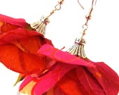 mysweetmuse 'Flamenco Blooms' Earrings in STUNNING HANDCUT  VINTAGE SILK, WILD