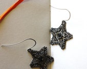 Large, Lacey Metal Star Earrings on Artistic French Hooks