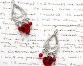 FOR LiiaAnn - Red Swarovski Crystal Heart, Red Chinese Crystal Bicones on a Sterling Silver Base and Silver Plated French Hooks