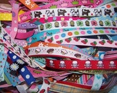 3\/8 inch Printed Novelty Grosgrain Ribbon 20 Random Strips 4 inch sections for making Hair Clips