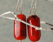 Red Coral Earrings Sterling Silver