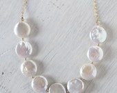 Coin Pearl Necklace Bridal Necklace Gold Chain