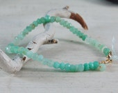 RESERVED for Colleen Green Chrysoprase Bracelet Dainty Rondelles Gold 5.25 inches