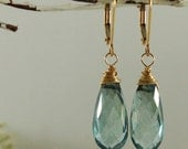 AAA Blue Mystic Topaz Earrings Gold wire wrapped brios