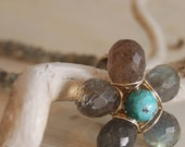 Labradorite Turquoise flower Pendant Necklace Sterling Silver