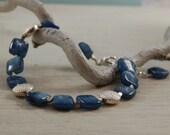Blue Kyanite Bracelet Sterling Silver Bead Bracelet