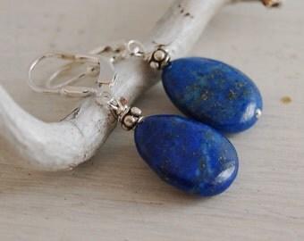 Lapis Lazuli Earrings Lapis Teardrop Earrings Sterling Silver Lever Back Earrings Bali Sterling Silver Lapiz Earrings Blue teardrop Earrings