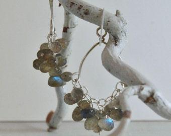 """Labradorite Earrings Chandelier Earrings Sterling Silver """"Lana"""""""