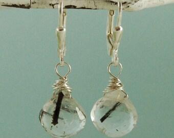 Tourmilated Quartz Earrings Sterling Silver