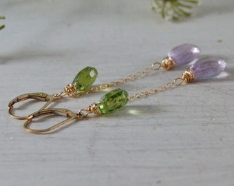 Long Peridot Amethyst Earrings Purple Earrings Gold