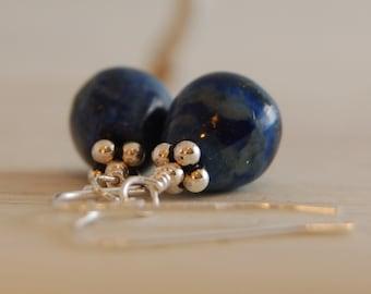 Lapis Lazuli Earrings Teardrop Bali Sterling Silver