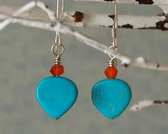 Turquoise Earrings Sleeping Beauty Turquoise Carnelian