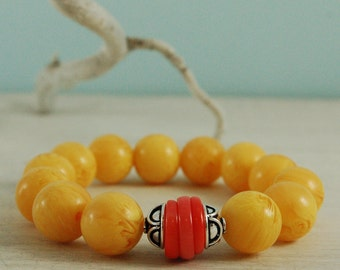 Colorblock Copal Amber Sponge Coral Red Yellow Bracelet Sterling Silver