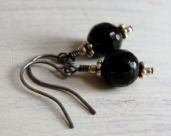 Black Onyx Earrings Oxidized Sterling Silver