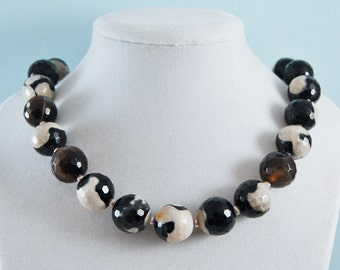 Black & White Agate Necklace Freshwater Pearls Sterling Silver