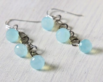 "Aqua Chalcedony Earrings Oxidized Sterling Silver ""Hannah"""