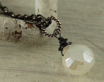 Pearl Chalcedony Necklace Mystic White Necklace