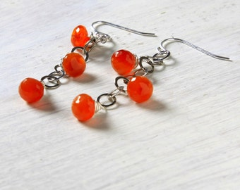 "Orange Carnelian Earrings Oxidized Sterling Silver Chain Dangles ""Hannah"""