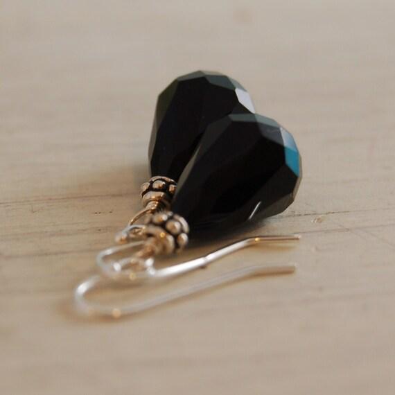 Swarovski Crystal Earrings Black Earrings Sterling Silver