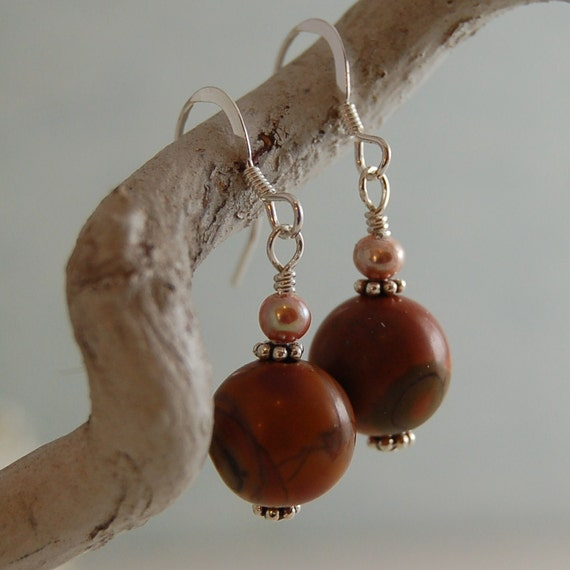 Red Creek Jasper Earrings Freshwater Pearls Sterling Silver