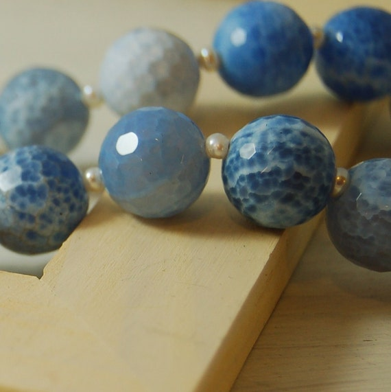 SALE Blue Vein Agate Necklace .925 Sterling Silver