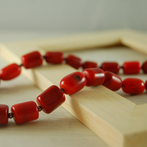 """Red Coral Choker """"Rachel"""" Red Coral Necklace"""
